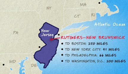 """""""Spanning New Brunswick, Piscataway, and adjacent towns in central New Jersey, Rutgers–New Brunswick is at the epicenter of America's northeast corridor that runs from Boston to Washington, D.C.—with excellent air, rail, bus, and highway connections to all points."""""""