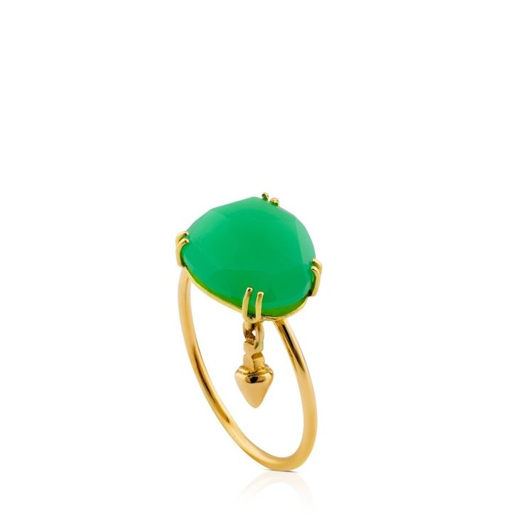 Złoty pierścionek z chryzoprazem Tous Beethoven