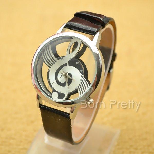 $6.50 Fashion Women's Watches Hollow Musical Note Style Dial Quartz Wrist Watch - 2 colors - BornPrettyStore.com