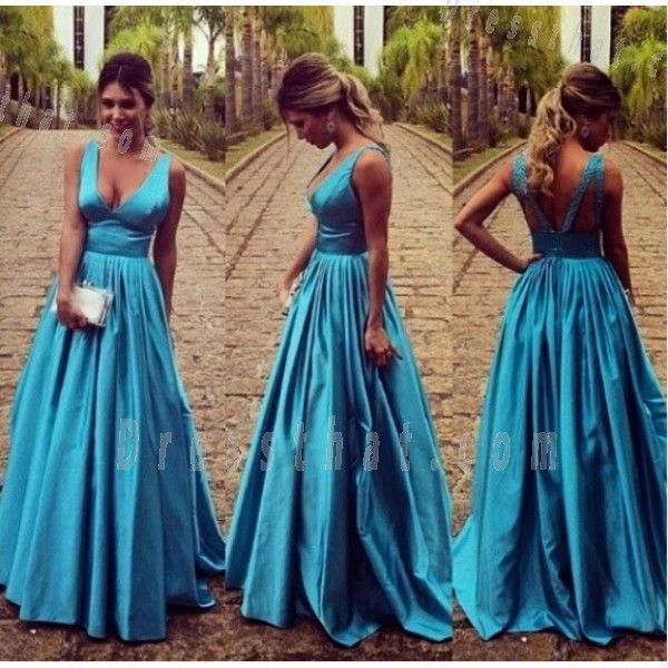 Sexy A-Line V-Neck Blue Stain Floor-Length Backless Prom Dress