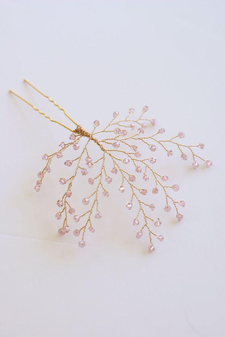 Tocado de novia Blush rosa cristal ramitas por MelindaRoseDesign
