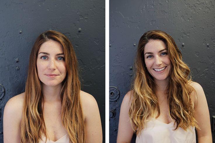 An easy hair tutorial on how to go from straight to wavy hair with sea salt spray.