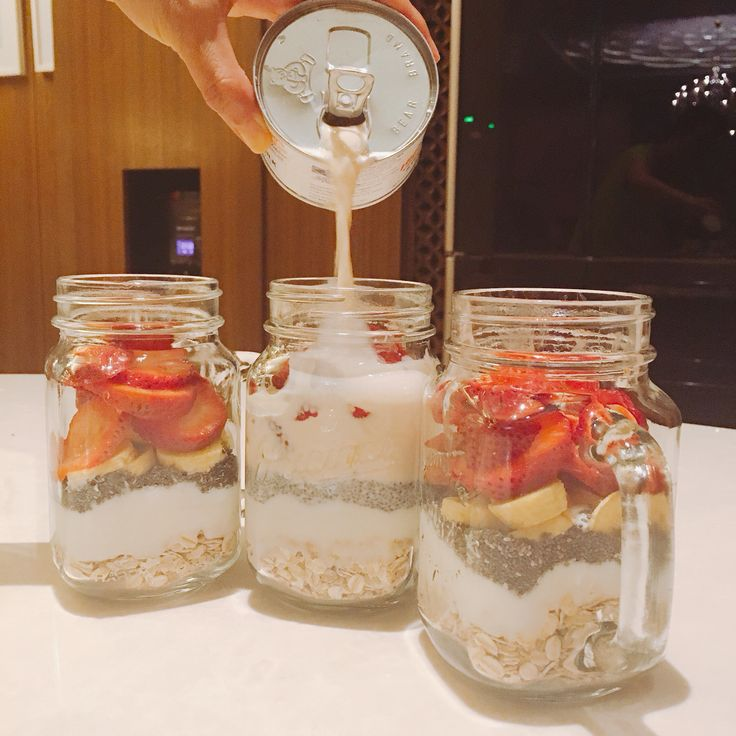 banana strawberry overnight oat. 1/3 cup of oat. 1/3 cup of plain yoghurt. 2 teaspoon of chiaseed. 1 banana.2 strawberry and 1 can of milk.