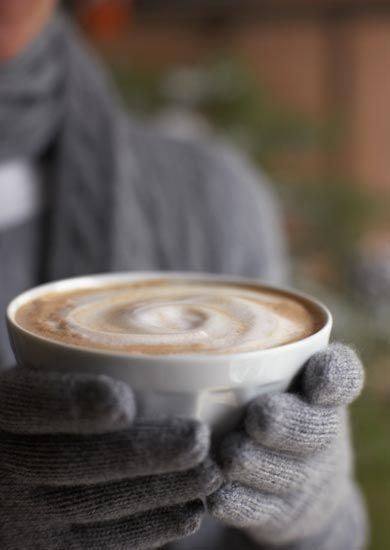 nothing like a hot latte on a cold day, warms the hands