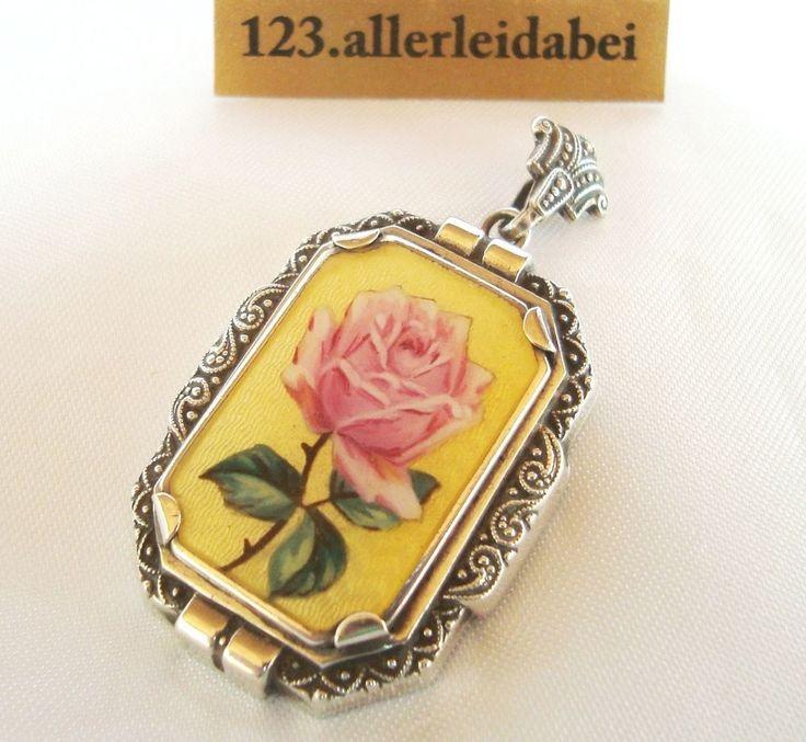 Jugendstil Emaille Anhänger Medaillon Silber Emaile Rose Rosen / AI 312