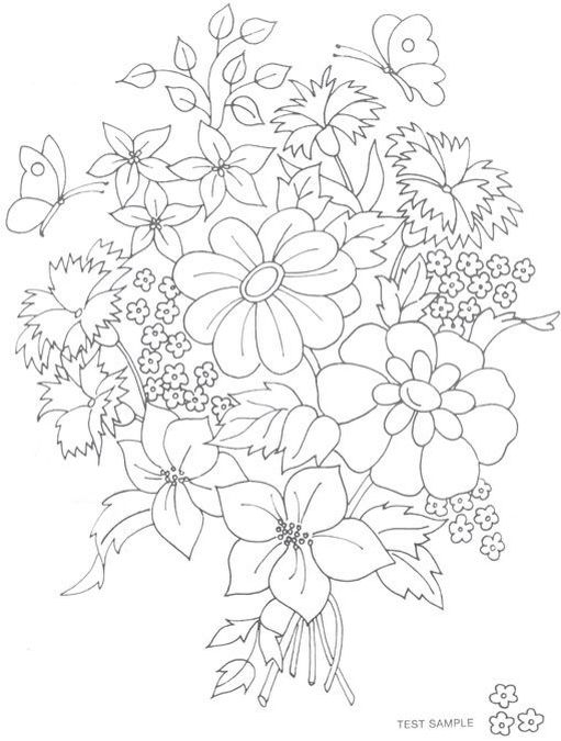 Coloring Books Adult Pages Flower Bouquets Flowers Embroidery Ideas Para Rugs Mexican