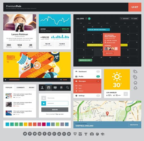 UI+Kit+Psd+Layered+Meterial+for+Free+Download