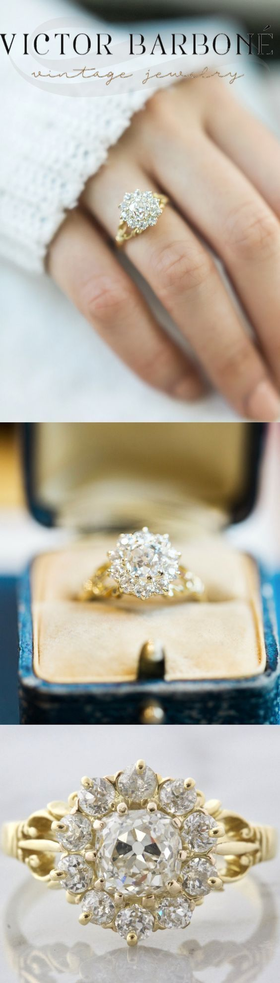 An amazing Vintage Cluster Engagement Ring from Victor Barboné Jewelry! This beauty centers an old mine cut diamond set in yellow gold with an intricate split shank!