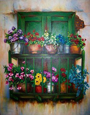 Balcon Colombiano pintado en Oleo  Para venta /for sale info cristinachaparroduque@gmail.com