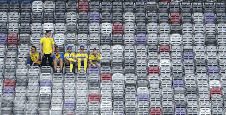 Swedish fans sit in the stands after the Euro 2016 Group E soccer match between Italy and Sweden at the Stadium municipal in Toulouse, France, Friday, June 17, 2016. Italy won the match 1-0. (AP Photo/Hassan Ammar)/TH164 /96622703571/1606171825