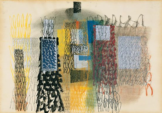 Untitled (c.1953) by Italian artist Tancredi Parmeggiani (1927-1964). Gouache & pastel on paper, 70.1 x 99.8 cm. via Peggy Guggenheim Collection