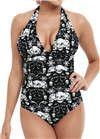 Women One Piece Skull Print Cut Out Back Design Halter Ruffles Swimwear Plus size Swimsuit