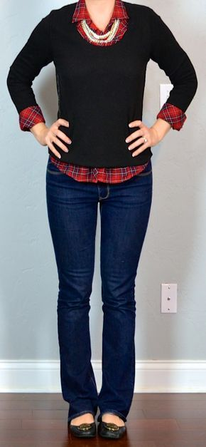 outfit post: red plaid shirt, black sweater, bootcut jeans, black flats | Outfit Posts Dynamic
