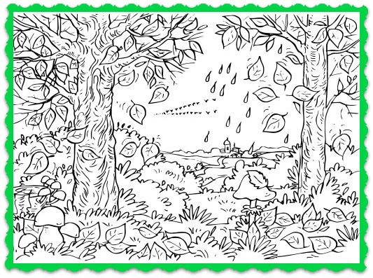 Fall Tree Coloring Page And Song For Kids