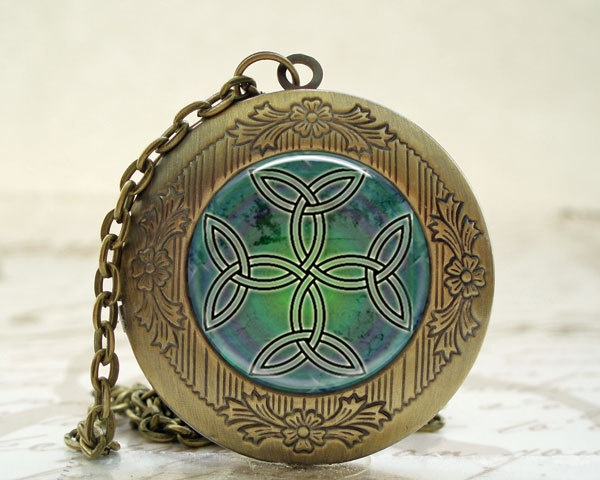 Celtic Knot Locket with Necklace and Matching Gift Tin. $19.00, via Etsy.