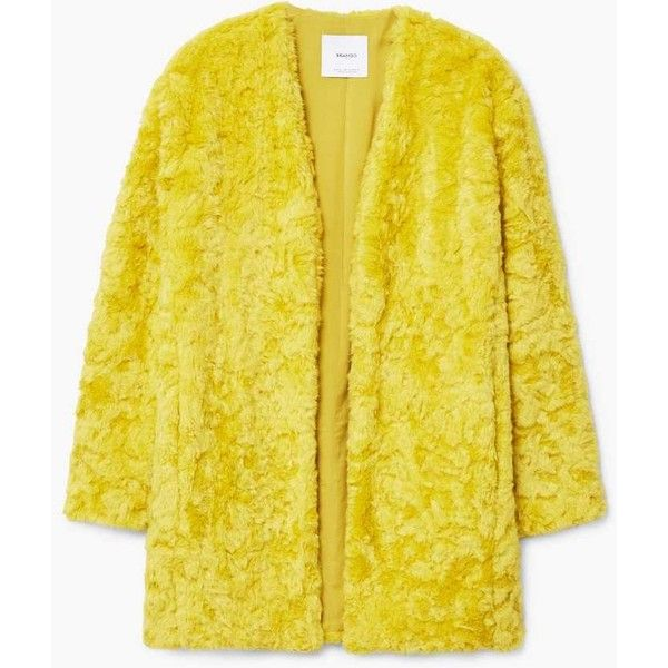 Faux Fur Coat ($105) ❤ liked on Polyvore featuring outerwear, coats, fake fur coats, yellow coat, faux fur lined coat, fake fur lined coats and imitation fur coats