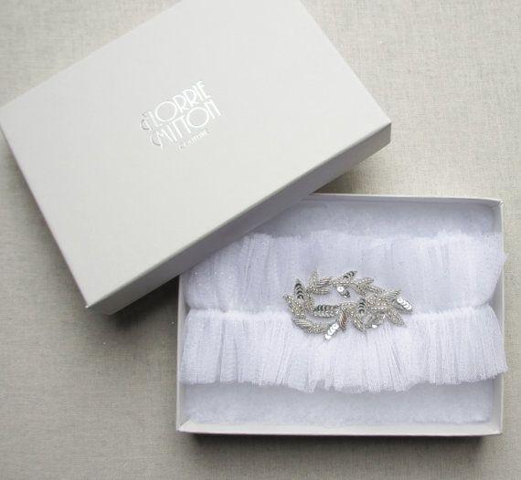 glitterati silk tulle garter white by florriemitton on Etsy