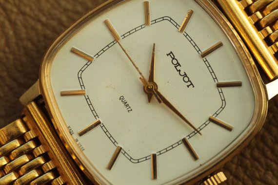 Soviet watch POLJOT Quartz Mechanism 2456 Vintage watch Mens