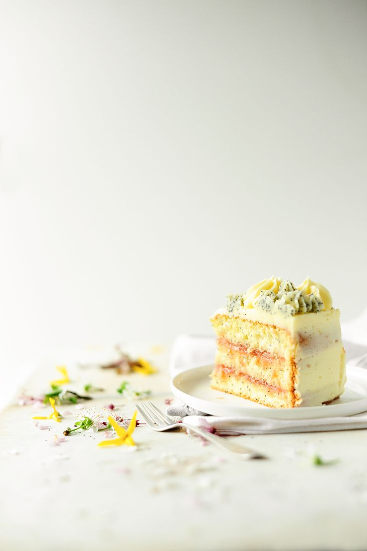 ... spring lemon poppy seed cake w/ stewed rhubarb and lemon buttercream ...