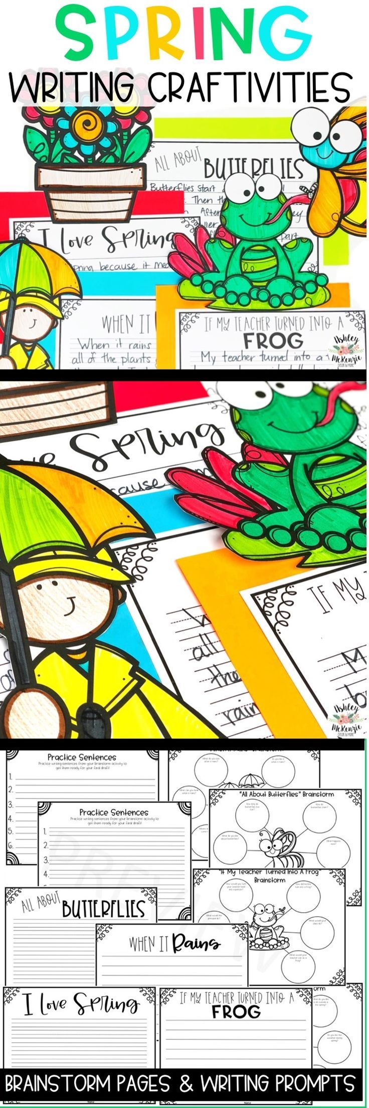 Fun Spring writing craftivities. Write about butterflies, rain, and turning the teacher into a frog! Makes a great spring bulletin board!