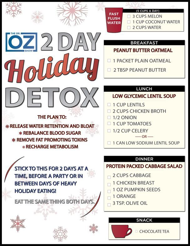 Holiday Detox Plan | The Dr. Oz Show | Follow this board for all the latest Dr. Oz Tips!