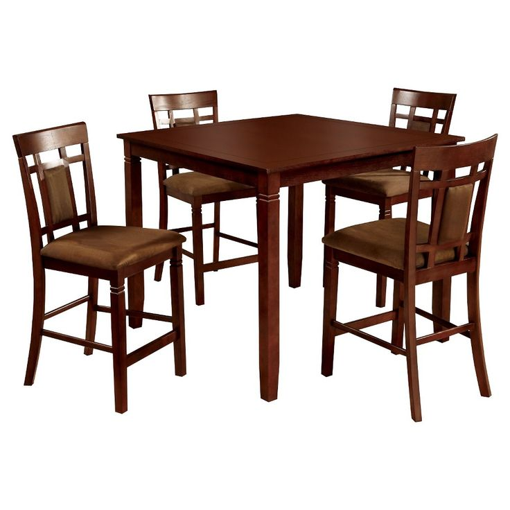 5 Piece Gridded And Padded Back Chair And Dining Table Set Wood/Dark Cherry - Furniture of America, Redwood Brown