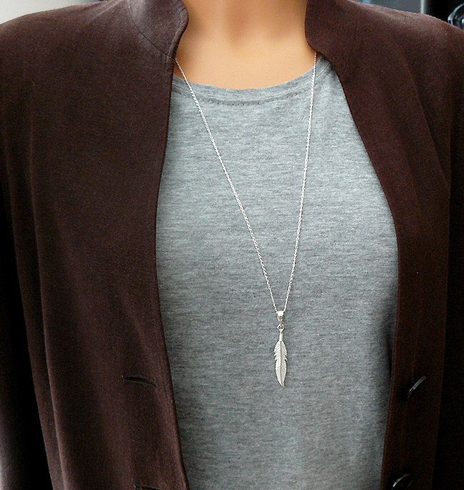 Feather Necklace - Long Necklace - Long Feather Necklace - Sterling Silver 925 by SaraAndJane on Etsy https://www.etsy.com/listing/238174970/feather-necklace-long-necklace-long