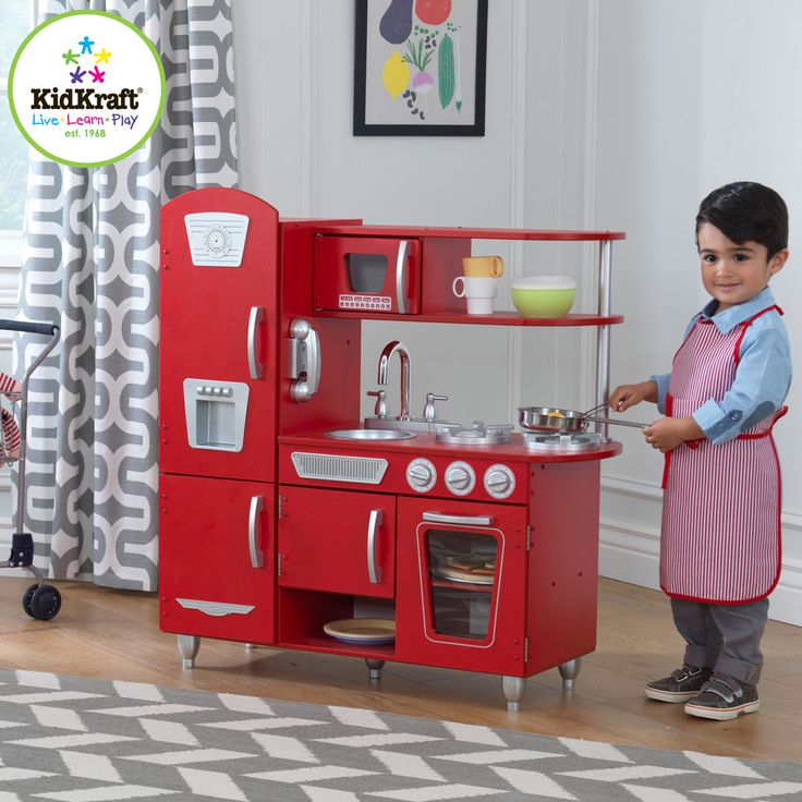 Young Chefs Are Sure To Love Cooking Up Fun With Our Adorable Red Vintage Play  Kitchen! This Kids Kitchen Has Doors That Open And Close, Knobs That Click  ...