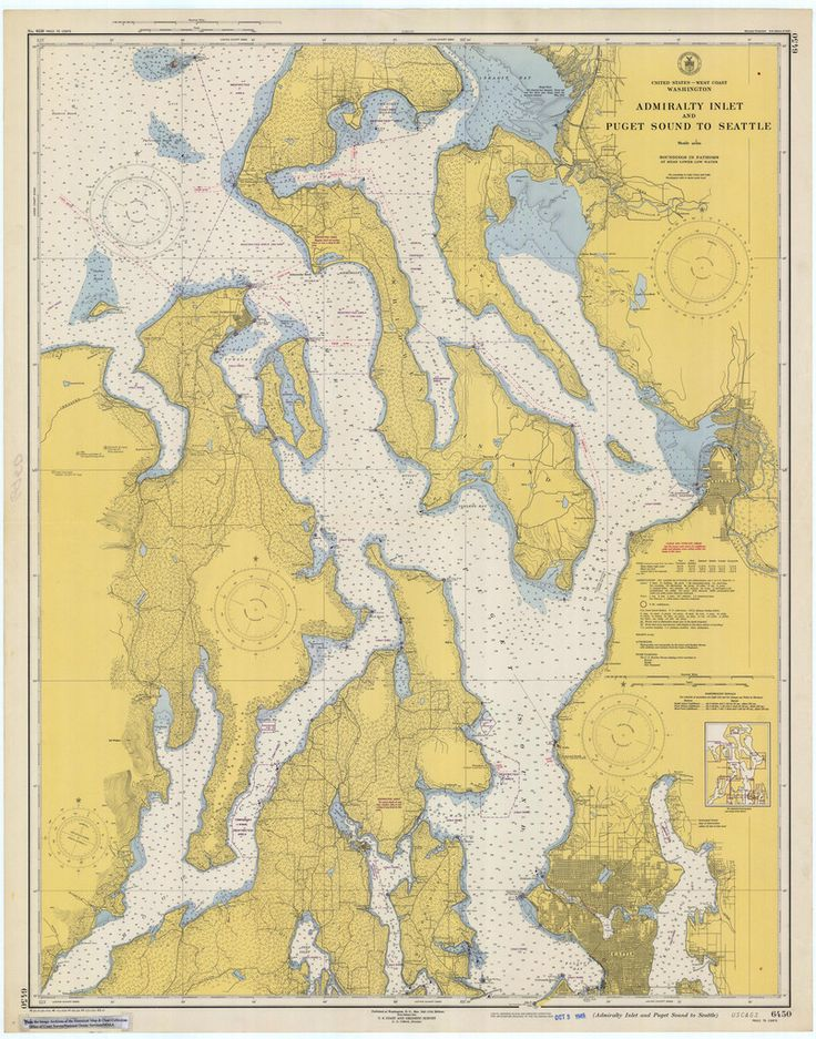 A beautiful, high quality print of the historical map of Puget Sound & Admiralty Inlet from 1949. This map is professionally printed on top of the line digital equipment. It is printed on high quality