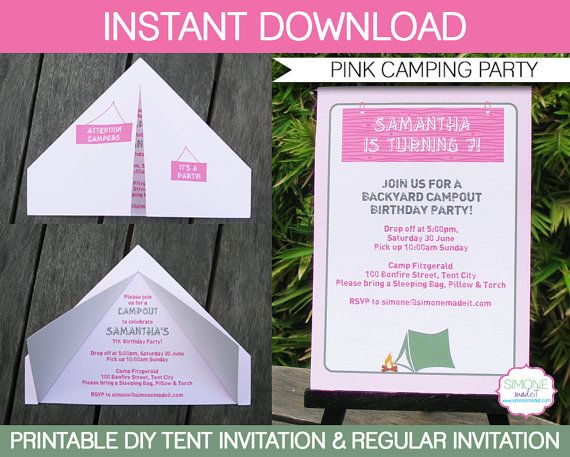 Girls Camping Party Invitations & Decorations by SIMONEmadeit