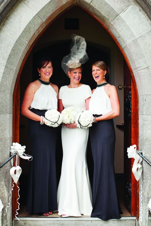 bride and bridesmaids in black and white