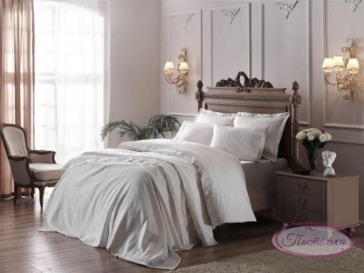 Свадебный набор (15 предметов) Постельное бельё с покрывалом и полотенцами ТАС Clodia ekru