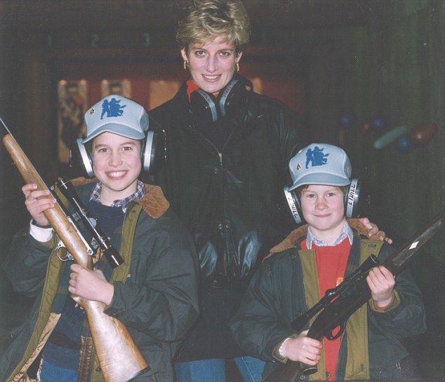 Princess Diana, William (left) and Harry (right) posed together during a private photo shoot Ken Wharfe arranged at the Metropolitan Police Firearms Training Unit in Essex