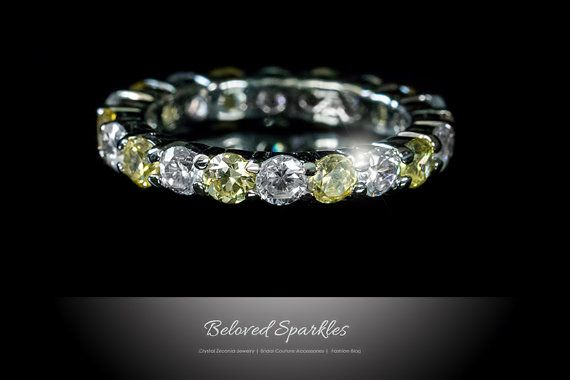 Eternity Ring 4 carat Canary Yellow .925 by BelovedSparkles at Etsy  42.95 size 10