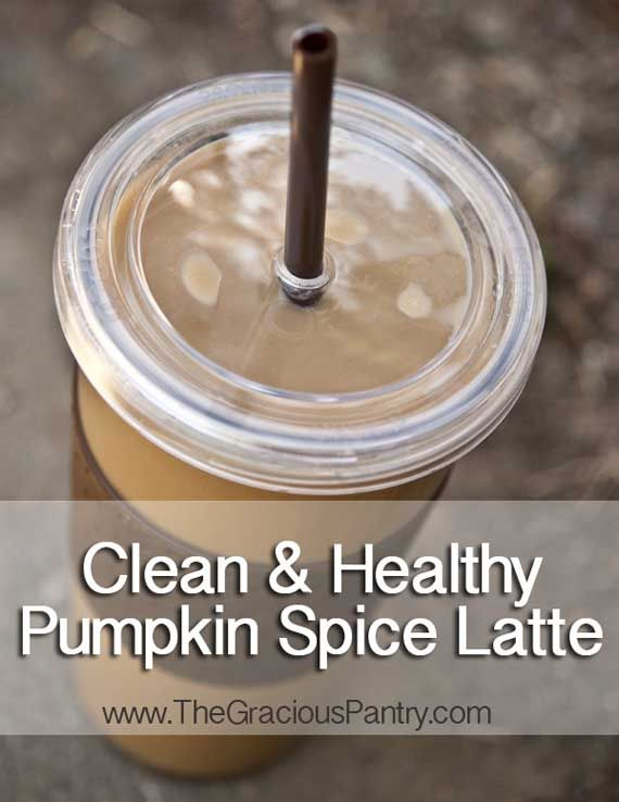 Clean Eating Pumpkin Spice Latte  (Makes 2 lattes)    Ingredients  4 tbsp. ground coffee  1 tbsp. pumpkin spice (no sugar added, just the spice mix)  2-1/2 cups water  2 cups unsweetened vanilla almond milk OR…  2 cups regular milk + 1/2 tsp. vanilla extract  2 tbsp. pure maple syrup