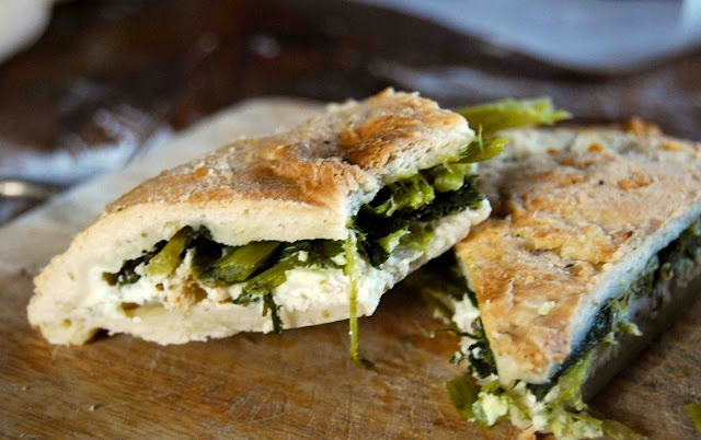focaccia with ricotta and broccoli rabe