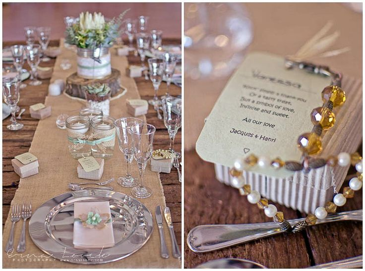 Erna Loock Photography: { Forever } Hanri + Jacques Part One Rustic Romance Wedding Beaded Guest Favors White Protea Centre Piece