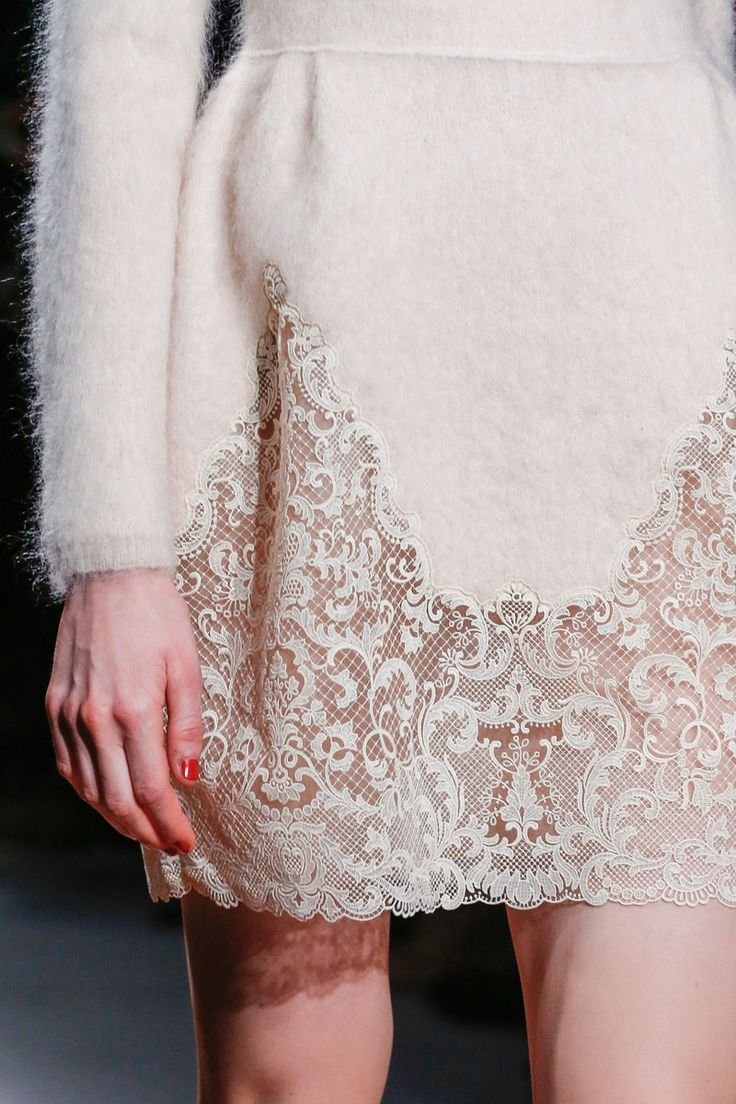 Valentino F/W '13 | beautiful lace applied to scalloped knit