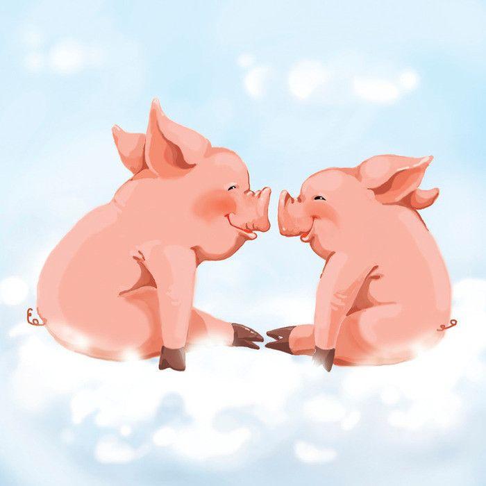 Открытки, открытки игрушки поросенок целует подружку