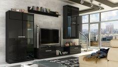 Obývací stěna NORTON černý lesk