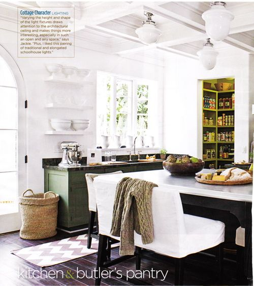 Kitchens: Kitchens Islands Lights, Butler Pantries, Green Cabinets, Cabinets Colors, Green Kitchens, Benches Seats, Kitchen Islands, White Kitchens, Green Pantries