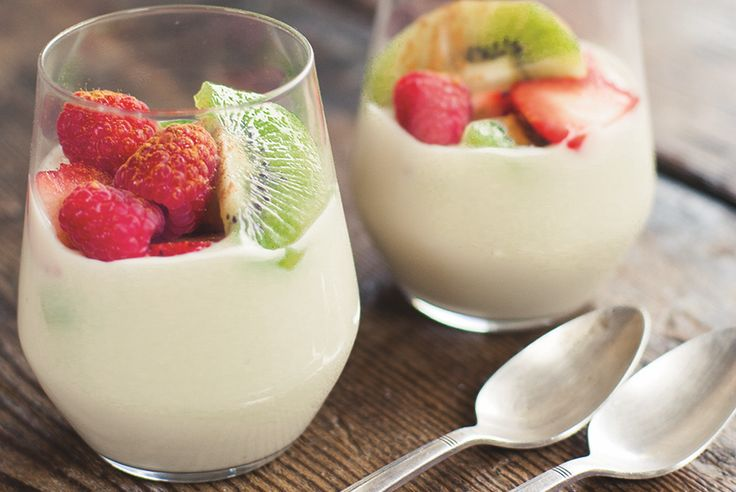 Coconut Cream Bowl - topped with fresh summer fruits, it is perfect for a dessert or sweet snack!