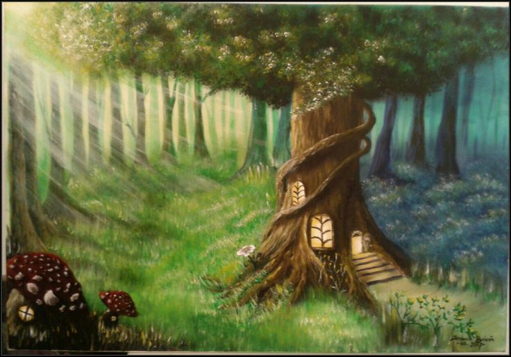 """Forest House"" Part of ""Mid Summer Night's Dream"" collection. Acrylics on canvas, 65x45 cm For SALE!!!"