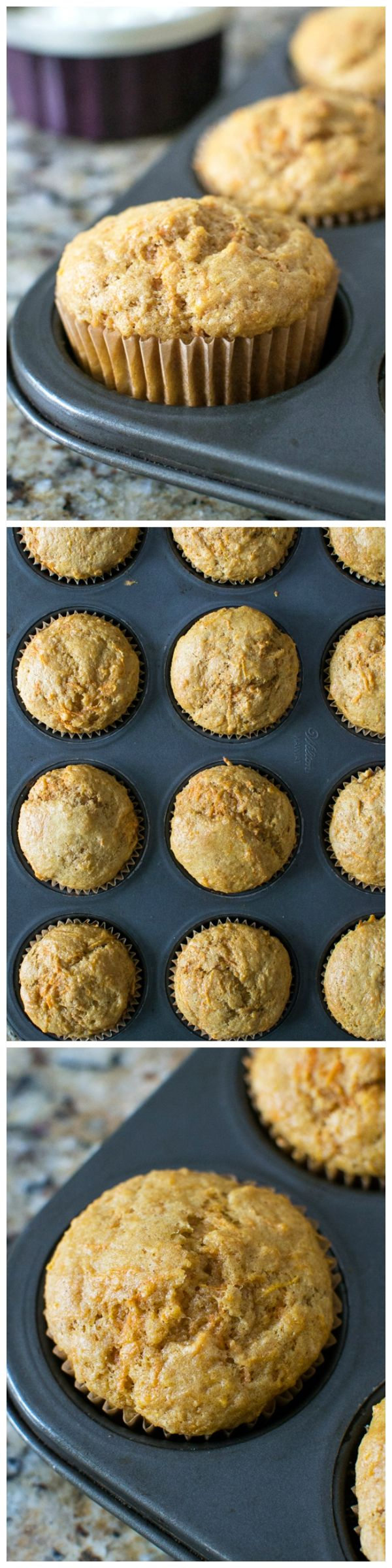 Carrot muffins made with whole wheat and yogurt – a great breakfast or snack you can eat on the run!