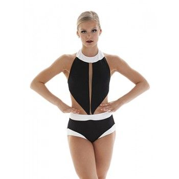 Black and white dance leotard awesome for Jazz & Contemporary! Top and brief come as separate pieces which is great for customers to pin for just the right fit.