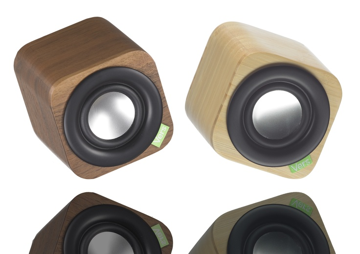 Walnut & bamboo speakers for Apple