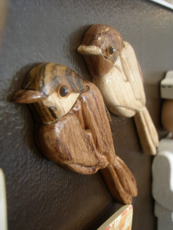 wooden intarsia magnets by Del Holbrook  Blackberry Artists: Local Wildlife