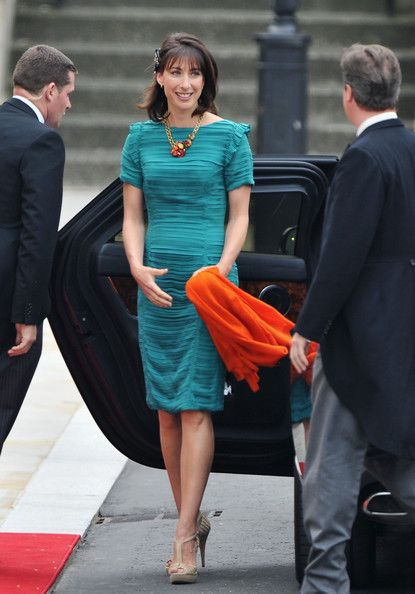 Samantha Cameron, wife of Prime Minister David Cameron, visited Westminster Abbey in a turquoise dress with short sleeves from Burberry. Description from entmood.blogspot.co.uk. I searched for this on bing.com/images