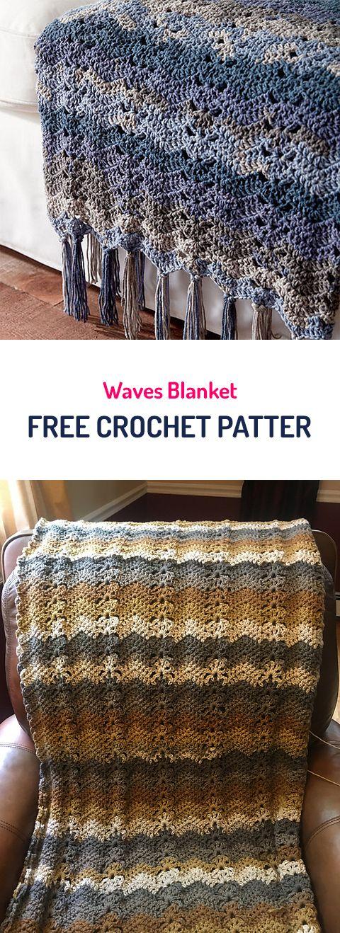 Waves Blanket Free Crochet Pattern #crochet #yarn #crafts #homedecor