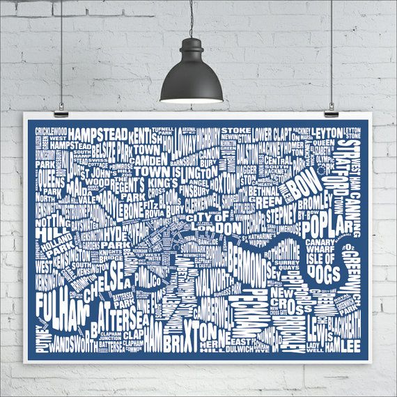40 best wordmap images on pinterest typography art prints and london typography map print custom london neighbourhood map with landmarks various colors map gumiabroncs Images